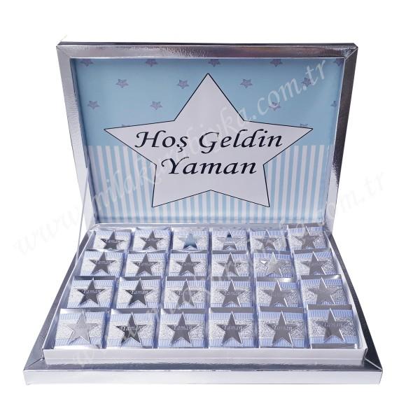 İsimli Yıldız Dekorlu Çikolata-Mavi - Gümüş