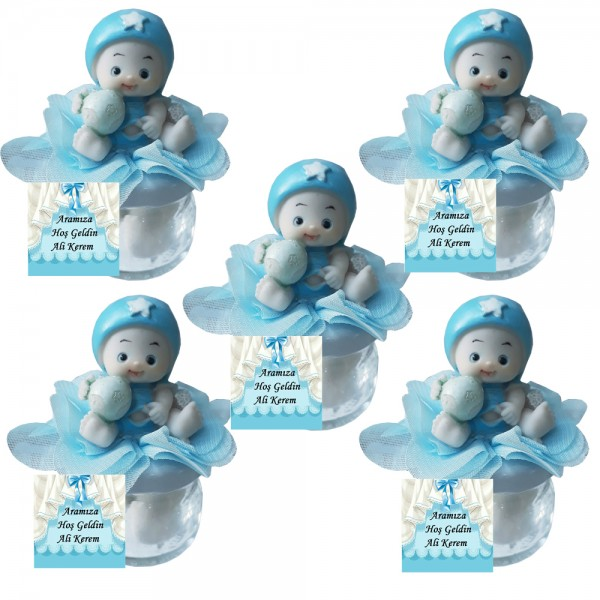 Şapkalı Toplu Bebek Biblolu Kavanozlu Bebek Şekeri ( Mavi )