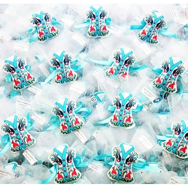 Mavi Çini Desenli Kaftan Magnet
