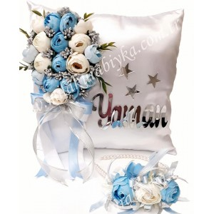 İsme Özel Erkek Bebek Takı Yastığı - Lohusa Tacı Seti ( Mavi - Beyaz )